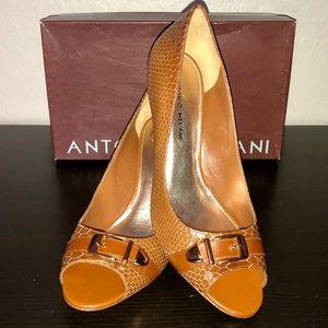 NEW! Antonio Melani Snakeskin Buckle Peep Toe Heel